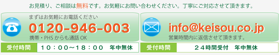 敬想お問い合わせ電話番号 メールアドレス
